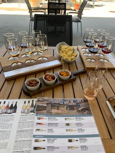 Tasting setup at Okanagan Crush Pad